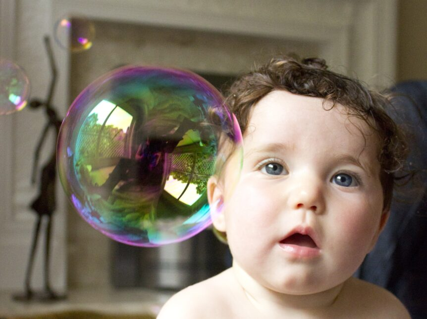 Picture of baby with soap bubble
